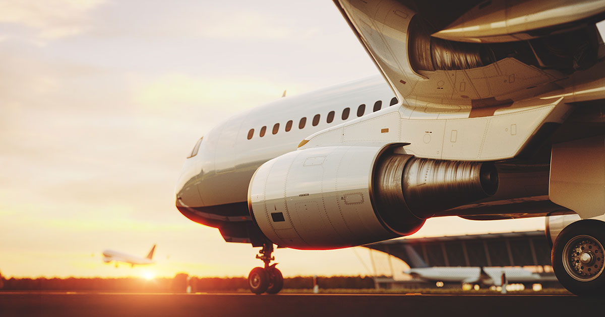 Flygplan som är påväg att lyfta