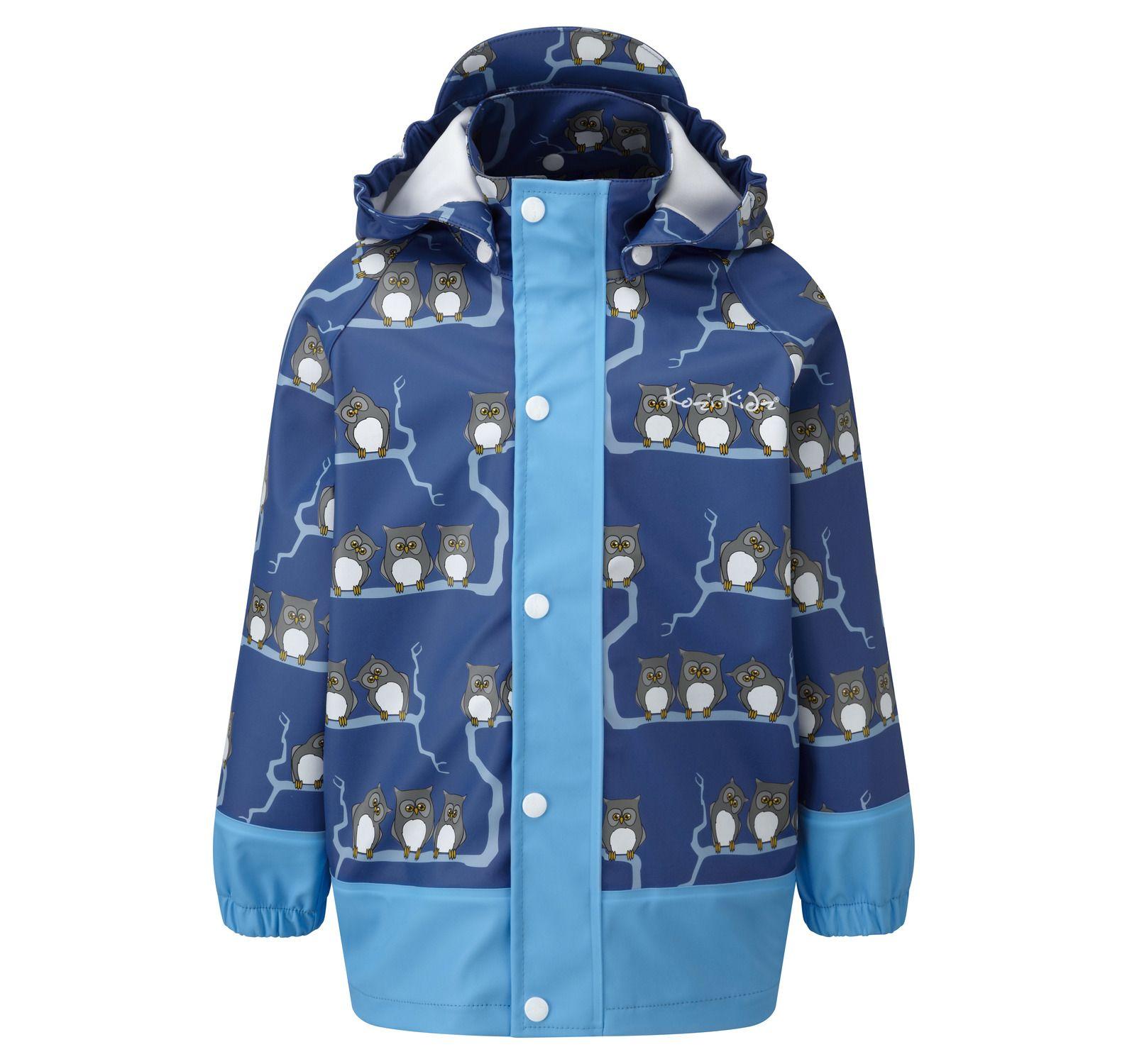 Rain Jkt Owls Unlnd, Nautical Blue, 100, Regnjackor