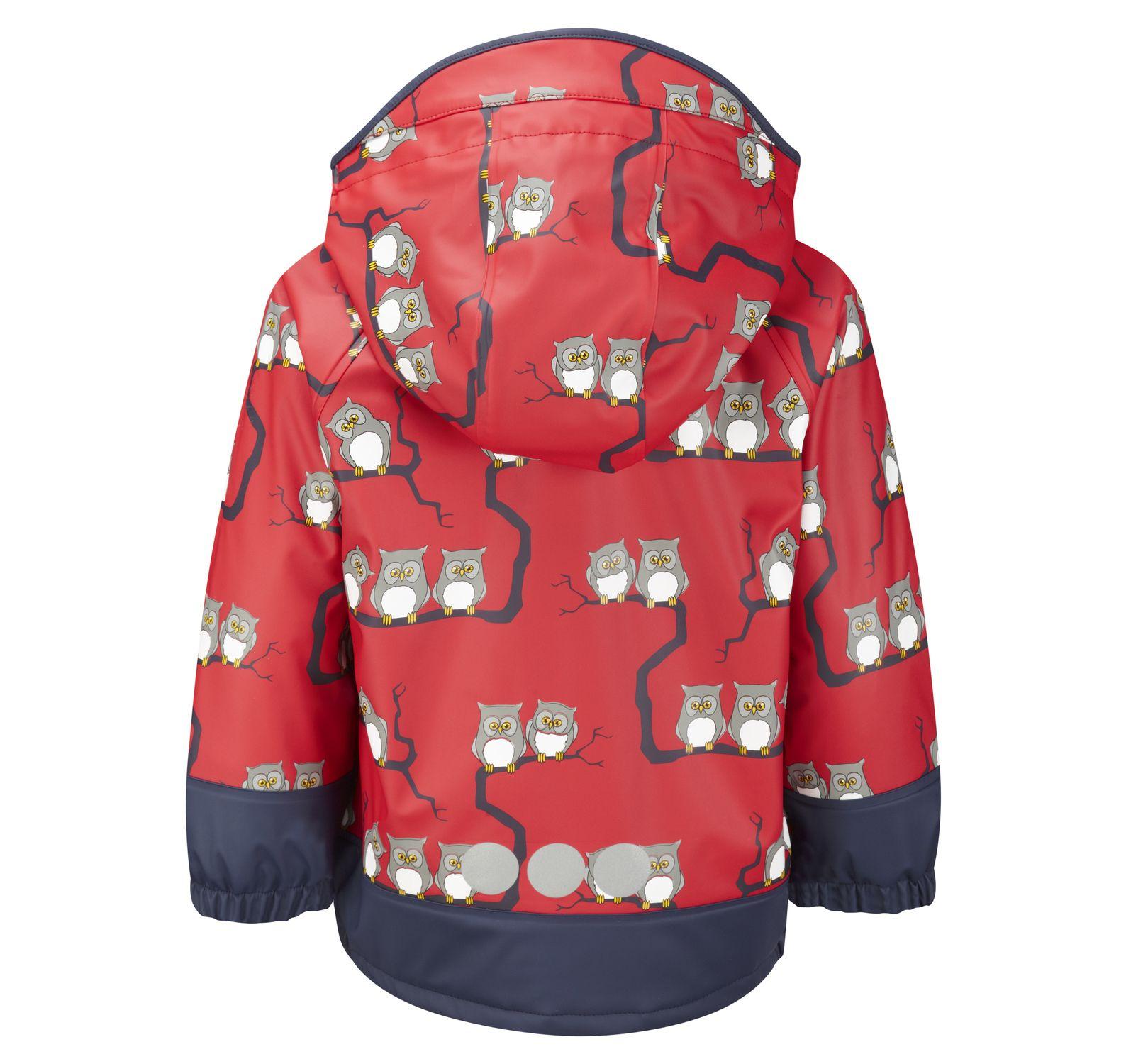 Rain Jkt Owls Unlnd, Red, 110, Regnjackor